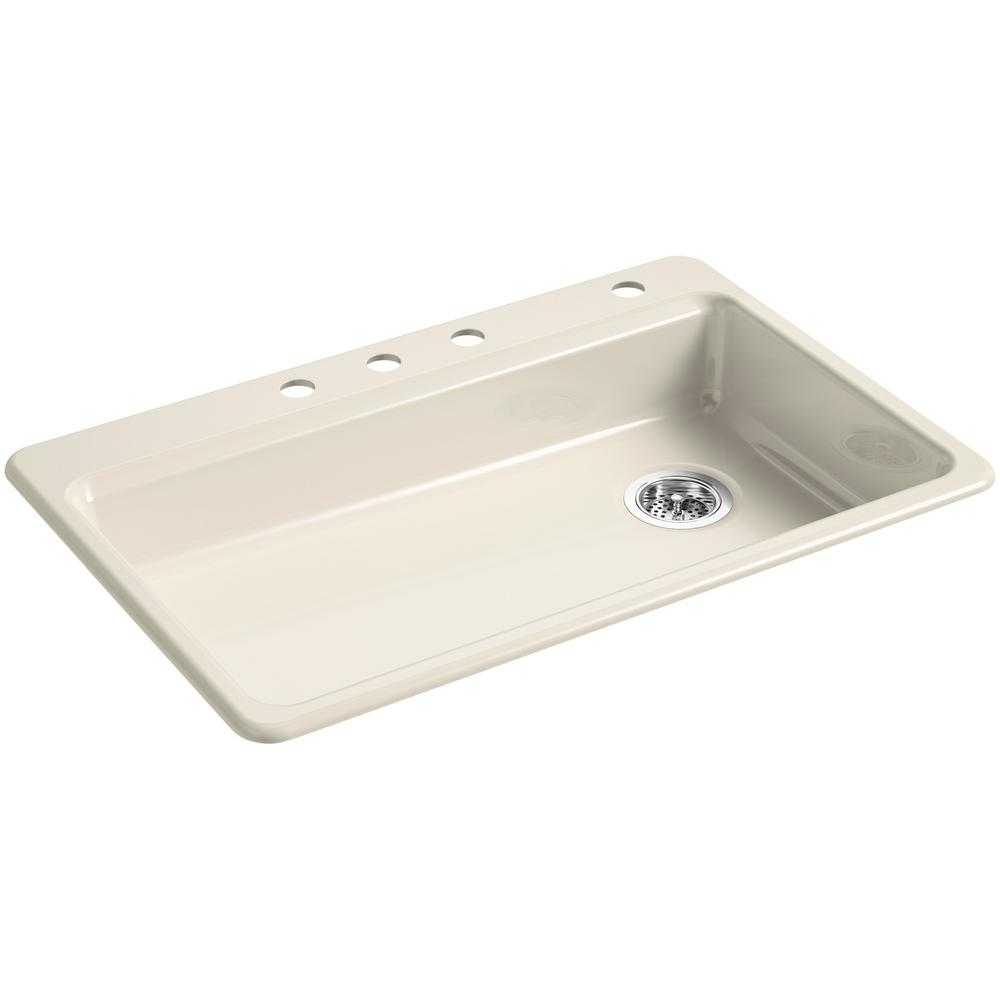 KOHLER Riverby Drop-In Cast Iron 33 In. 4-Hole Single Bowl