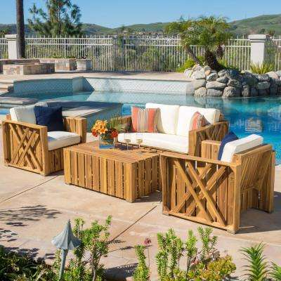Cadence Natural 4-Piece Wood Patio Conversation Set with White Cushions
