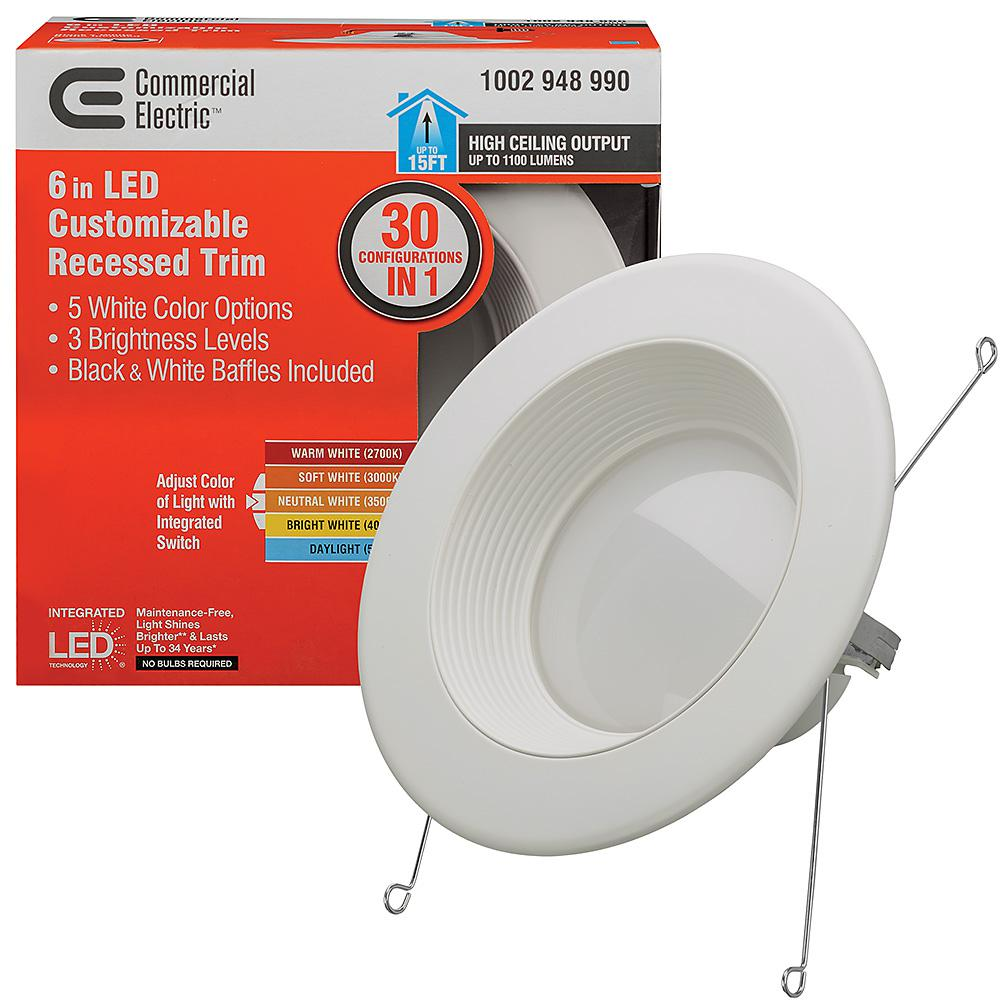 meet 7a763 b6ce5 Commercial Electric 6 in. Selectable Integrated LED Recessed Trim Downlight  30 Configurations in One High Ceiling Output Dimmable (8 Pack)