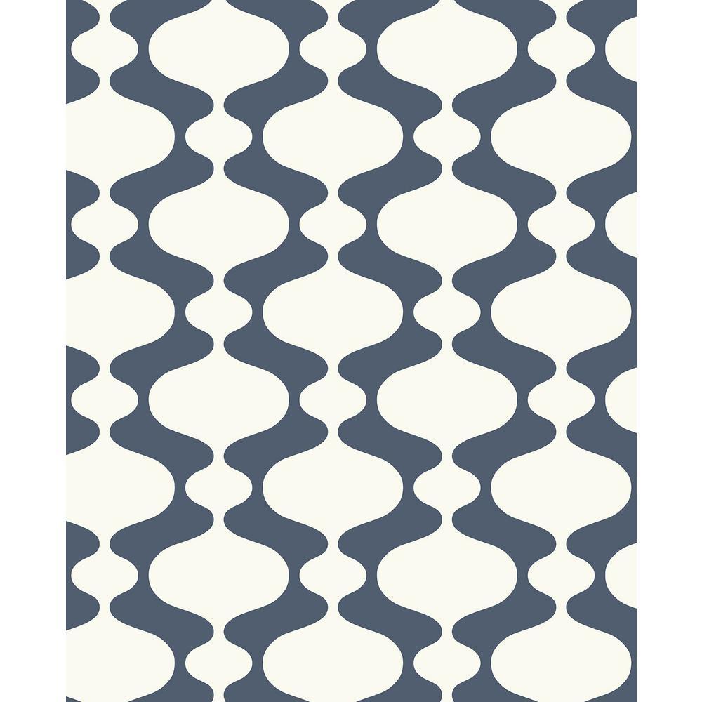 56.4 sq. ft. Emilio Navy Retro Wallpaper