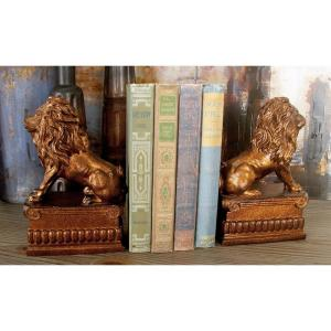 5 inch x 8 inch Brown Lion Bookends by