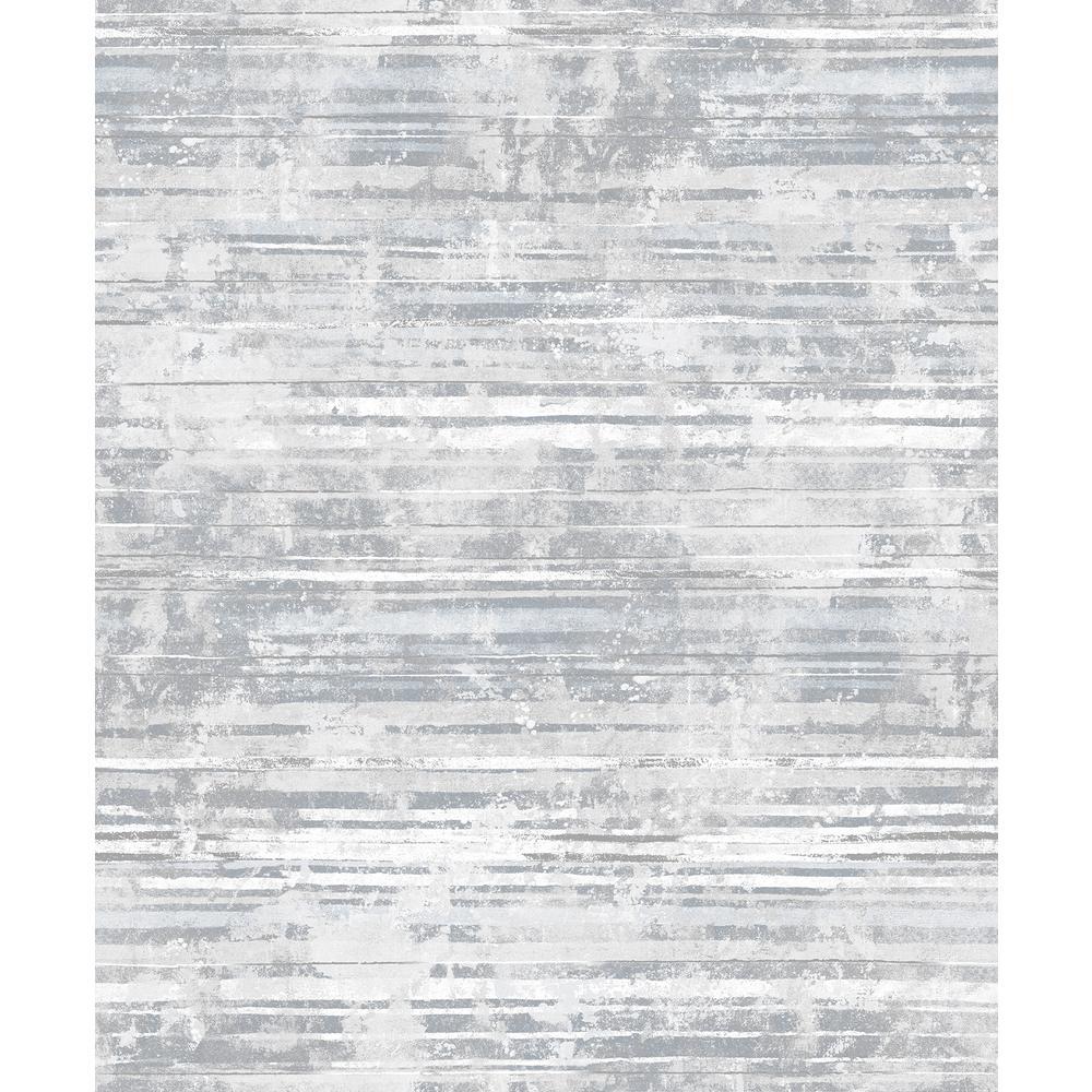Makayla Grey Distressed Stripe Wallpaper Sample