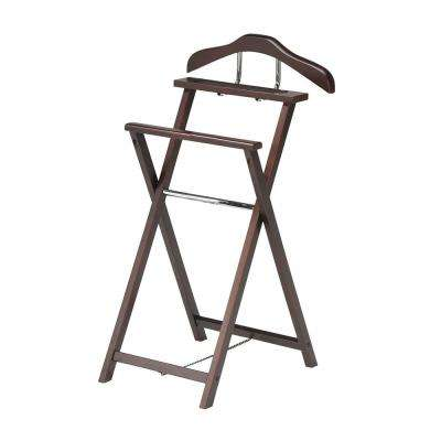 18 in. x 38 in. Walnut Metal/Wood Valet Stand