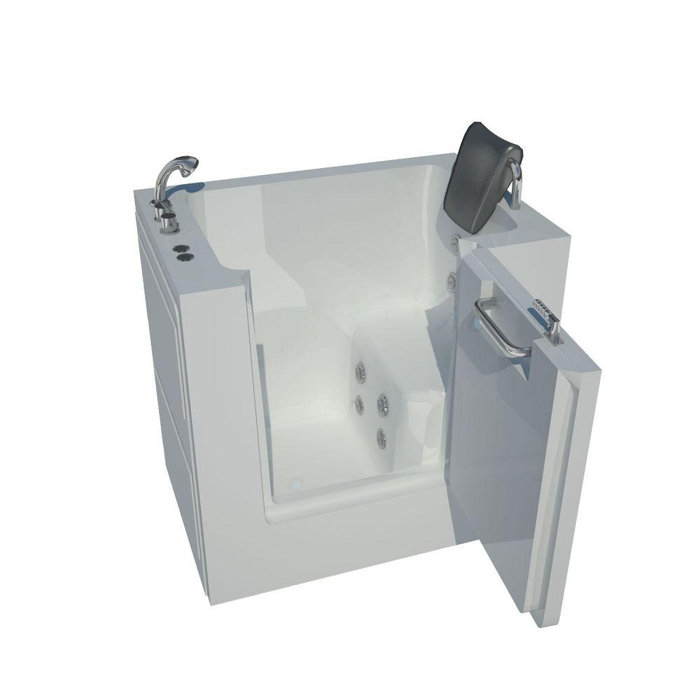 3.4 ft. Left Drain Walk-In Whirlpool Bath Tub in White