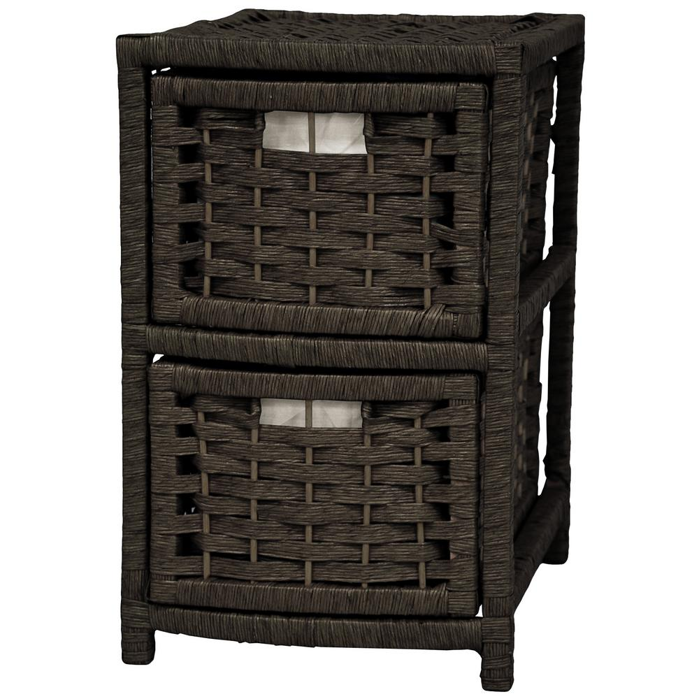 2-Drawer Black Natural Fiber Occasional Trunk