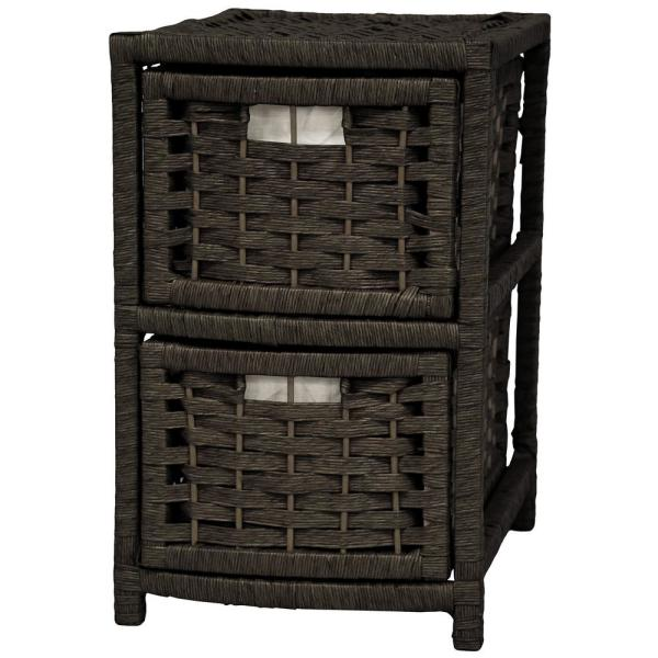 Oriental Furniture 2-Drawer Black Natural Fiber Occasional Trunk JH09-048-2-BLK