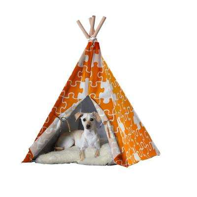 Large Orange Puzzle Pet Teepee