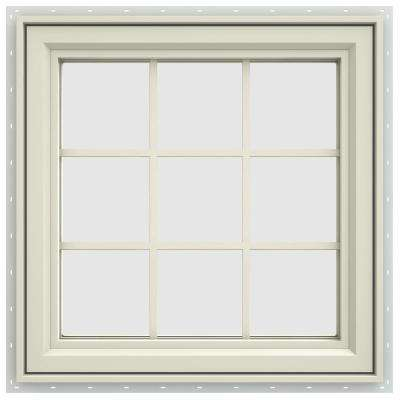 29.5 in. x 29.5 in. V-4500 Series Right-Hand Casement Vinyl Window with Grids - Yellow