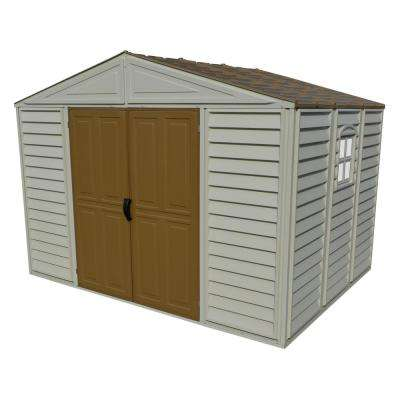 Woodbridge 10.5 ft. x 8 ft. Vinyl Shed Adobe with Foundation and Window