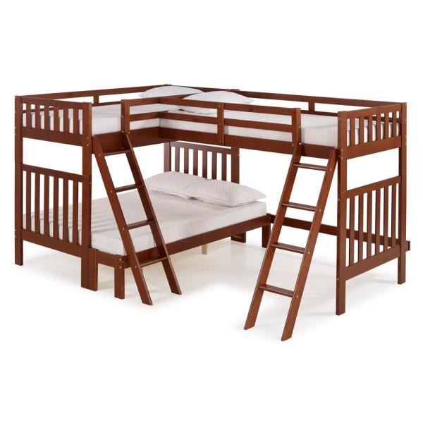 Alaterre Furniture Aurora Chestnut Twin Over Full Bunk Bed with Tri-Bunk