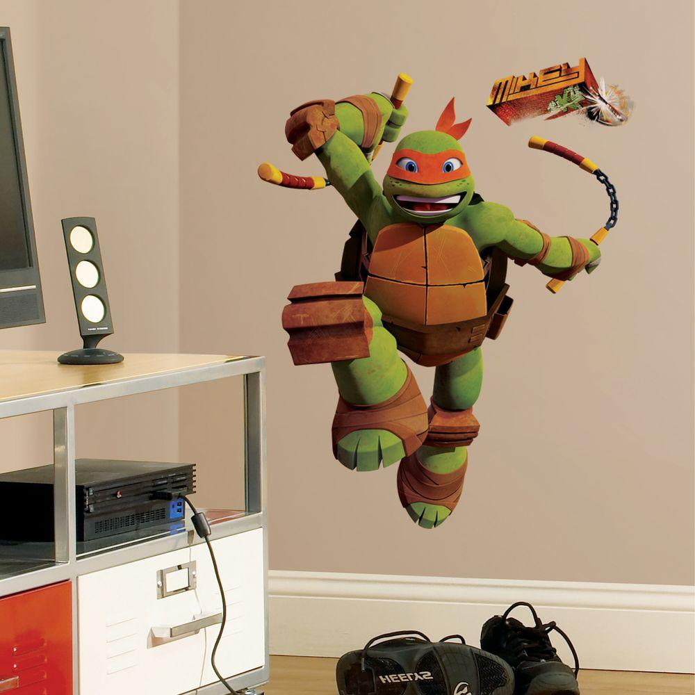 null 5 in. x 19 in. Teenage Mutant Ninja Turtles Mike Peel and Stick Giant Wall Decals