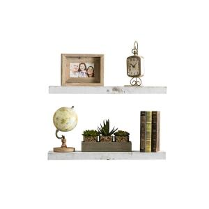 True Floating 5.5 in x 24 in x 2 in White Pine Floating Decorative Wall Shelf with Brackets (Set of 2)