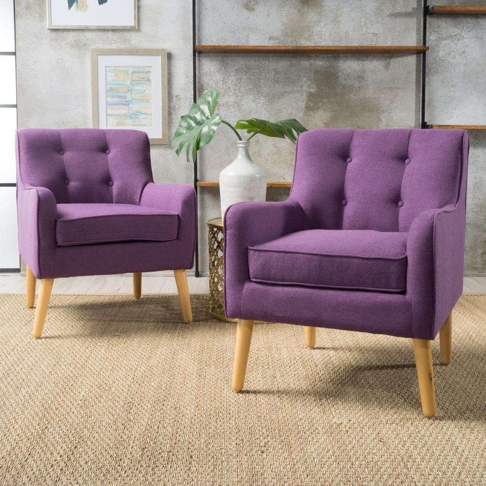 Felicity Mid-Century Modern Button Back Purple Fabric Armchairs (Set of 2)