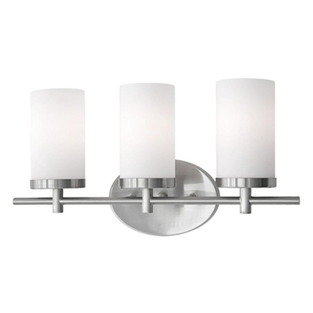 Tech Lighting Home Depot: Radionic Hi Tech Bailey 3-Light Brushed Nickel Bath Light