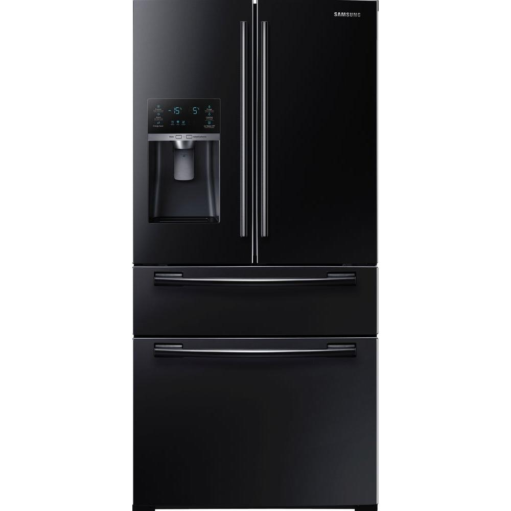 samsung 33 in w cu ft 4 door french door refrigerator in black rf25hmedbbc the home depot. Black Bedroom Furniture Sets. Home Design Ideas