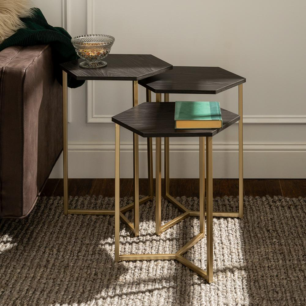 Modern transitional faux white marble gold hex wood and metal nesting tables set of 3