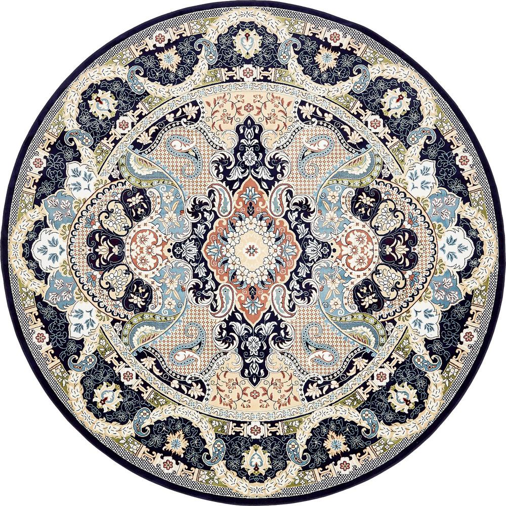 Unique Loom Tabriz Navy Blue 10 Ft X 10 Ft Round Area