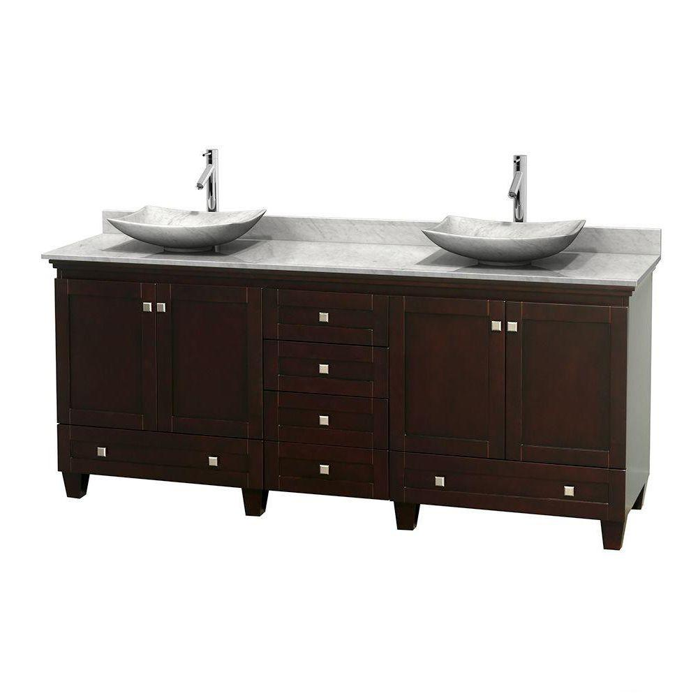 Wyndham Collection Acclaim 80 in. W Double Vanity in Espresso with Marble Vanity Top in Carrara White and White Carrara Sinks