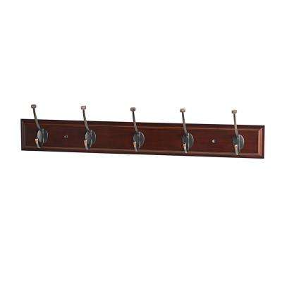 27 in. L ORB Pill Top 5-Hooks on Walnut Hook Rail