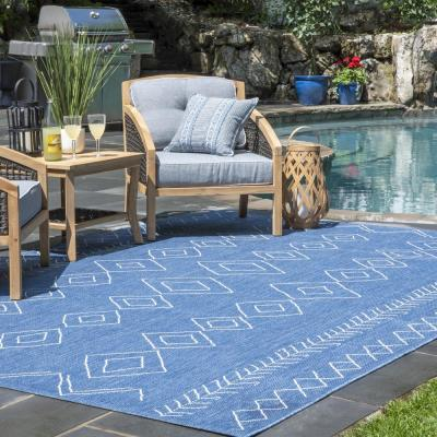 Serna Moroccan Diamonds Blue 10 ft. x 13 ft. Indoor/Outdoor Area Rug