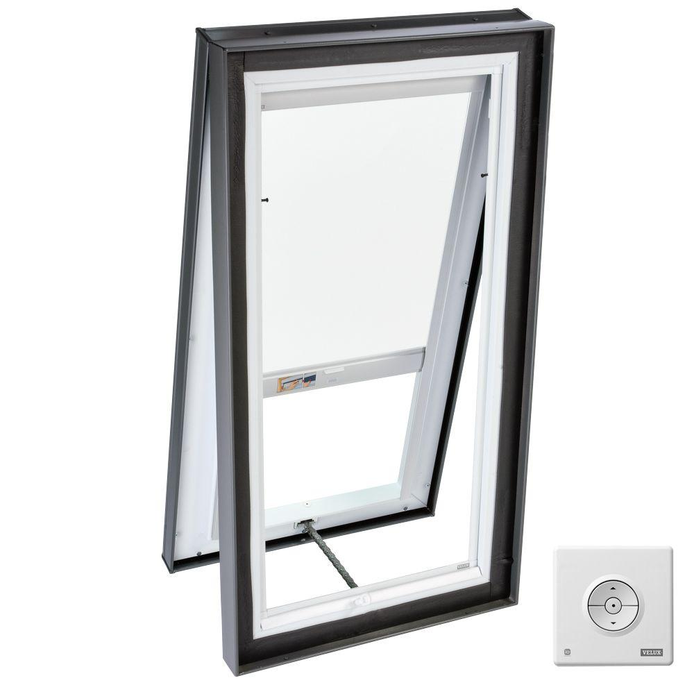 VELUX 22-1/2 x 22-1/2 in. Venting Curb-Mount Skylight with Tempered LowE3 Glass, White Solar Powered Light Blind-DISCONTINUED