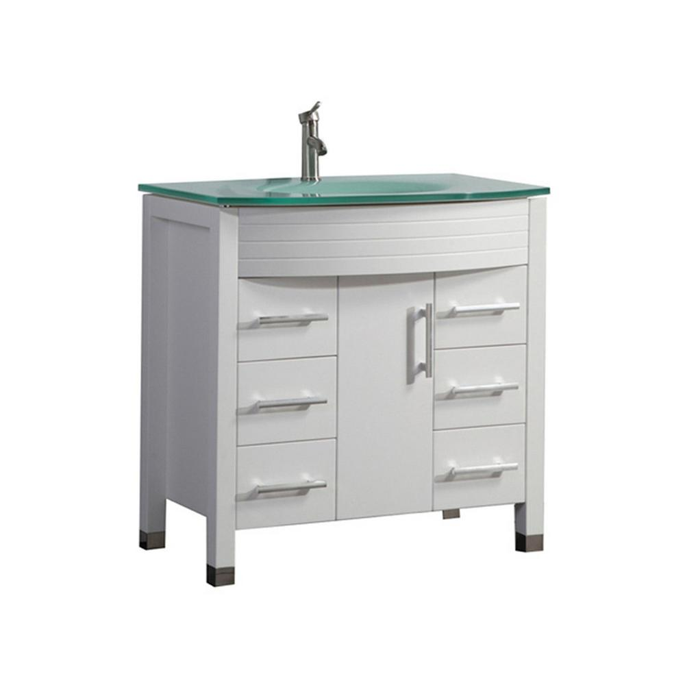 MTD Vanities Fort 36 in. W x 21 in. D x 36 in. H Bath Vanity in White with Aqua Tempered Glass Vanity Top with Glass Basin