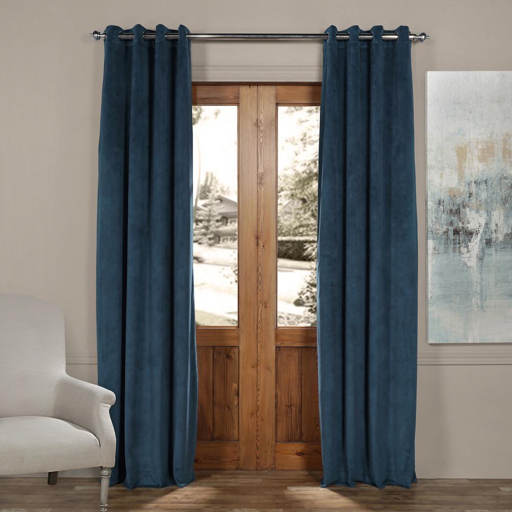 Blackout Signature Twilight Blue Grommet Blackout Velvet Curtain - 50 in. W x 108 in. L (1 Panel)