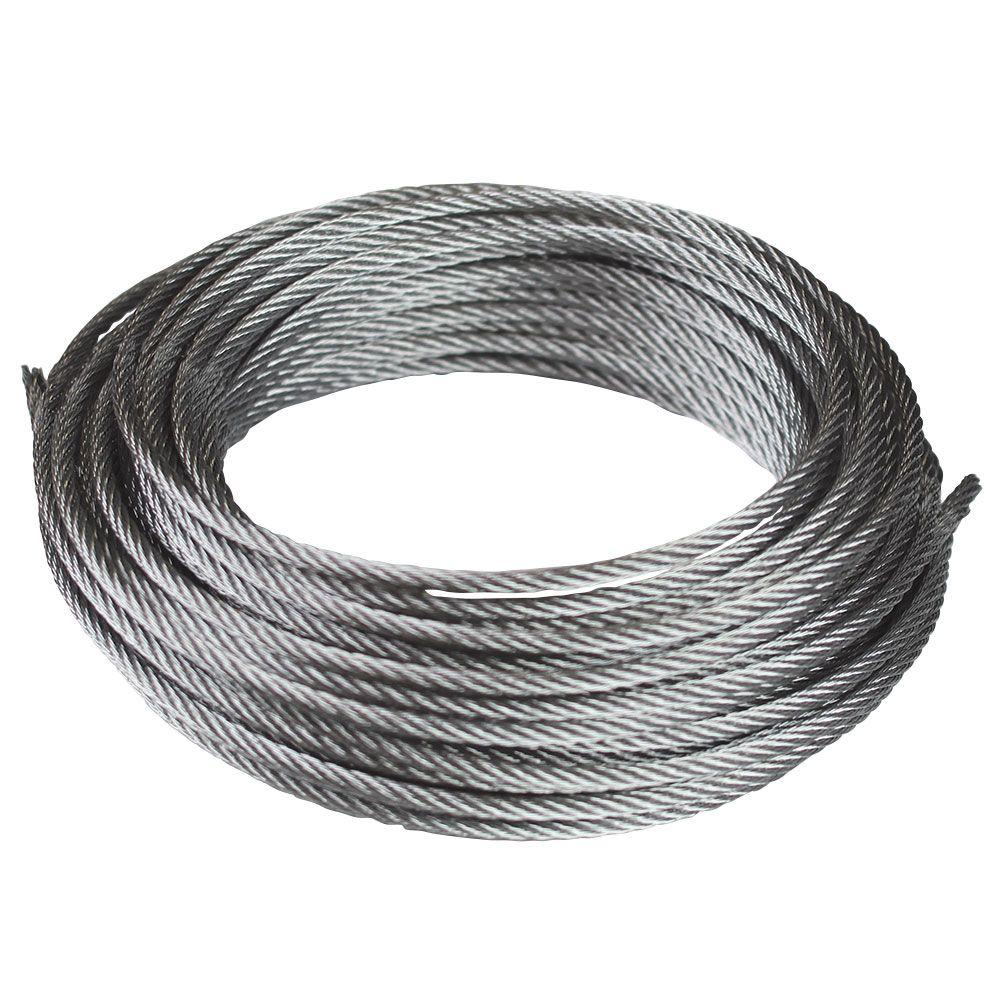 Everbilt 1/8 in. x 50 ft. Galvanized Uncoated Metal Wire Rope-803152 ...