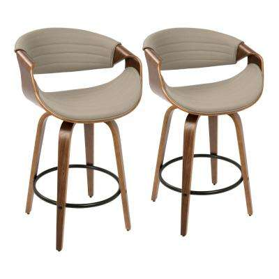 Symphony 26 in. Walnut and Grey Faux Leather Counter Stool (Set of 2)