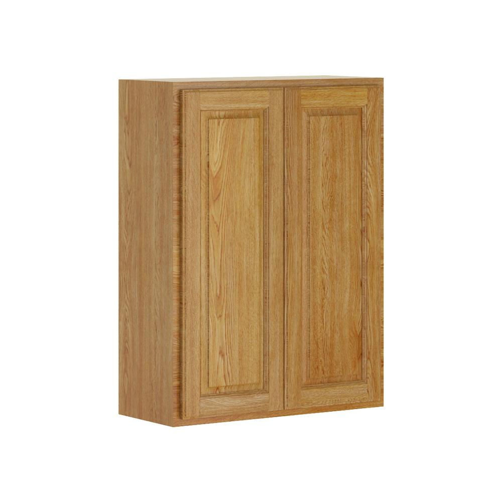 Madison Base Cabinets In Medium Oak: Hampton Bay Madison Assembled 27x36x12 In. Wall Cabinet In