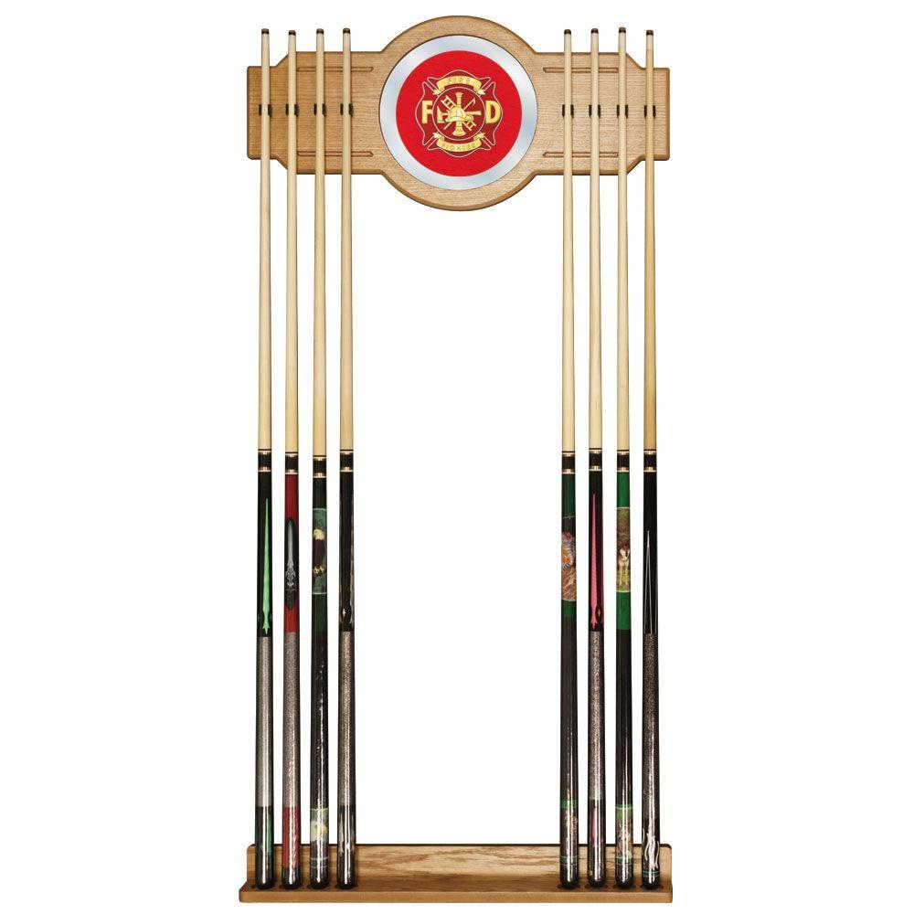 Trademark Fire Fighter 30 in. Wooden Billiard Cue Rack with Mirror