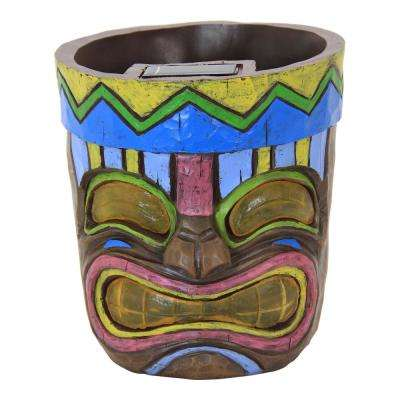 Solar Blue 8 in. Tiki Face Planter