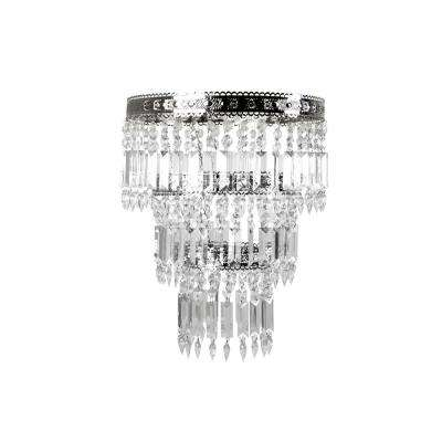 14 in. x 20 in. 1-Light Faux-Crystal & Chrome Pendant Chandelier Lamp Shade