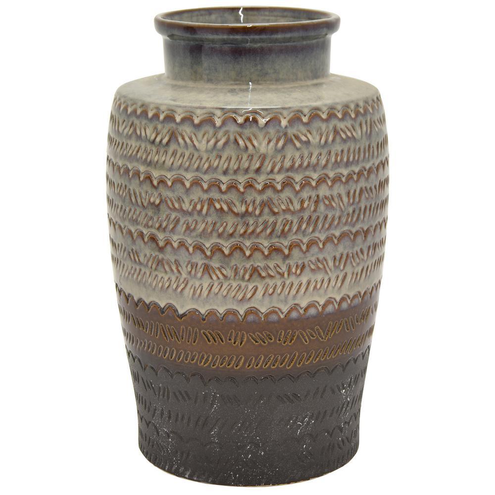 18 in. Brown Ceramic Table Vase
