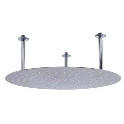 1-Spray 24 in. Fixed Showerhead with Ultra Thin Design in Brushed Stainless Steel