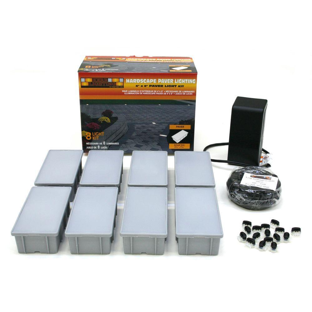 Easy Track Lighting Kit: Kerr Lighting 8-Light Outdoor Paver Light Kit-KPAV04-08