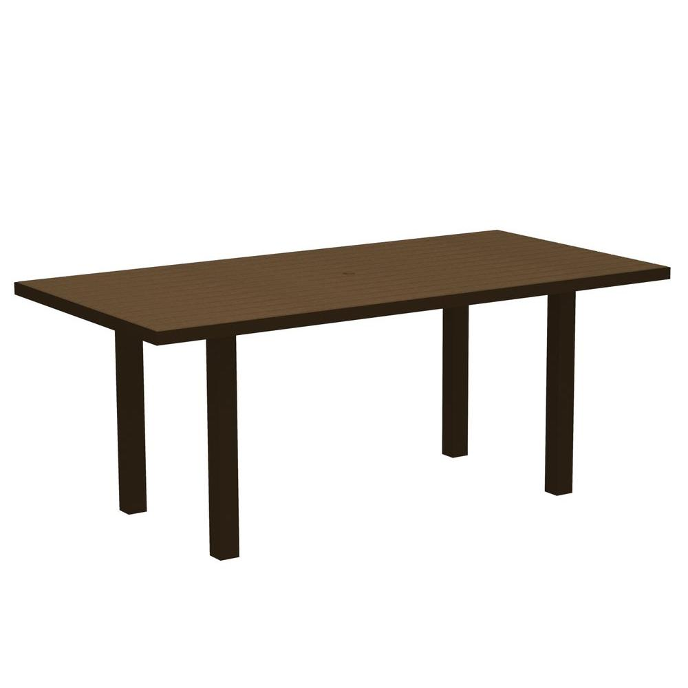 POLYWOOD Euro Textured Bronze 36 in. x 72 in. Patio Dining Table with Teak Top