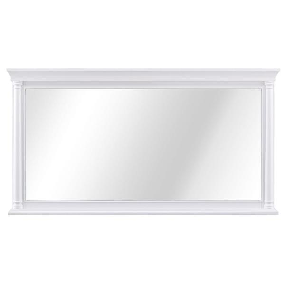 60 in. W x 32 in. H Framed Rectangular  Bathroom Vanity Mirror in White