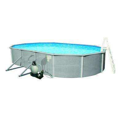Belize 15 ft. x 30 ft. Oval x 52 in. Deep Metal Wall Above Ground Pool Package with 6 in. Top Rail