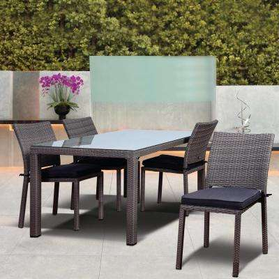 Atlantic Liberty 5-Piece Synthetic Wicker Rectangular Patio Dining Set with Grey Cushions