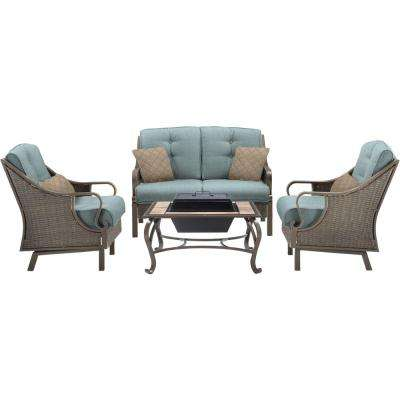 Carlisle 4-Piece All-Weather Patio Conversation Set and Wood-Burning Fire Pit with Blue Cushions