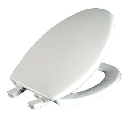 Whisper Close Elongated Closed Front Toilet Seat in White