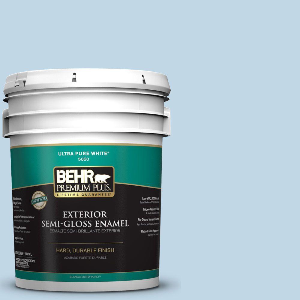 BEHR Premium Plus 5-gal. #S500-1 Distant Shore Semi-Gloss Enamel Exterior Paint