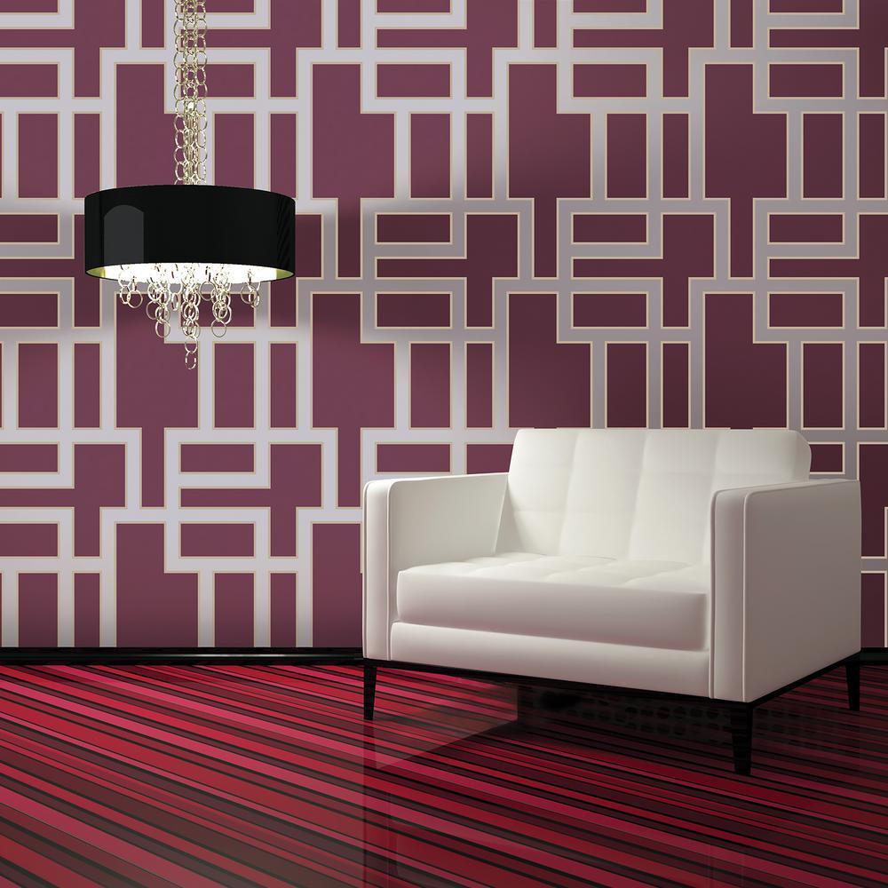 Tempaper Wallpaper: Tempaper Plum Maze Wallpaper-MA071