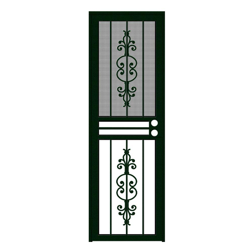 Unique Home Designs 28 in. x 80 in. Estate Forest Green Recessed Mount All Season Security Door with Insect Screen and Glass Inserts