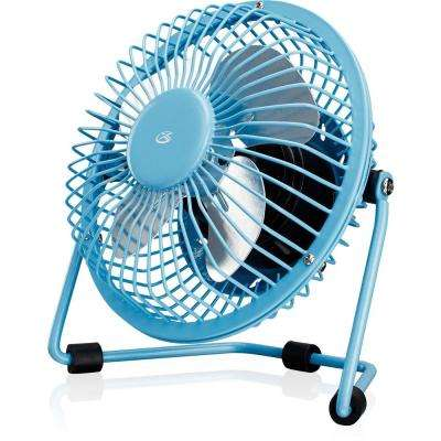 4 in. USB Desk Fan in Blue