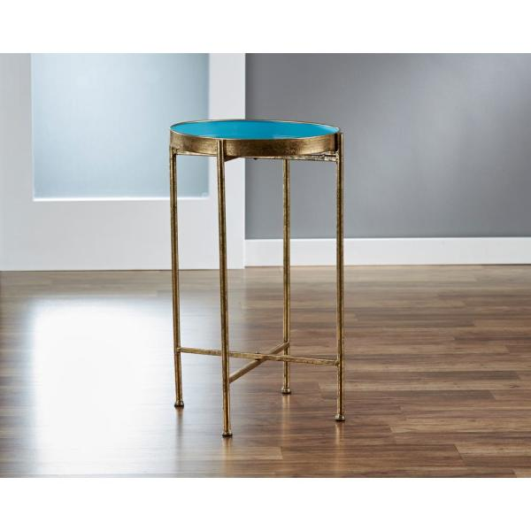 FirsTime 27 in. Small Gild Pop Up Blue Tray Table
