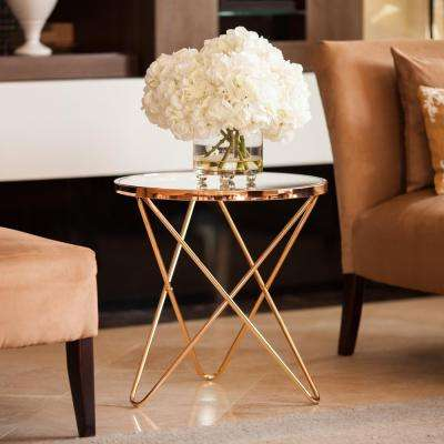 Tetra Clear Glasstop with Gold Metal Frame Round End Table