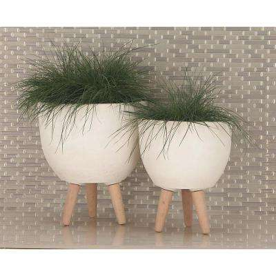 Large: 16 in., Medium: 15 in., Small: 12 in. White Fiber Wood Planters (3-Pack)