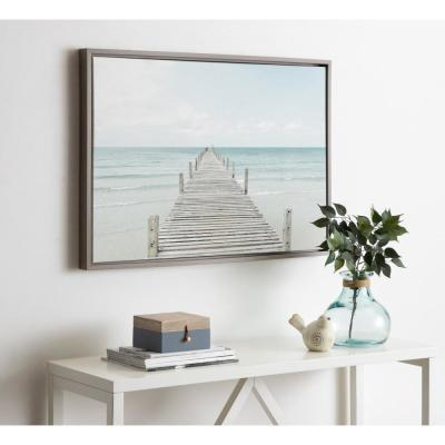 "Sylvie ""Wooden Pier on the Beach"" by Amy Peterson Framed Canvas Wall Art"